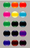 Metallic and modern glass buttons Stock Photography