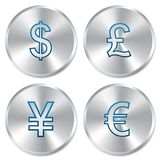 Metallic money buttons template set. Stock Image