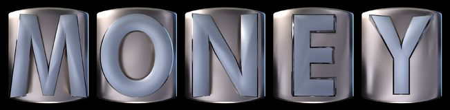 Metallic money word. Metallic blue silver money word realistic 3d rendered on black background Stock Photo