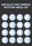 Metallic multimedia buttons set for website, elegant icons with pictogram symbols Stock Photo