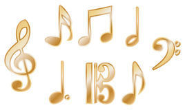 Metallic music notation vectors Royalty Free Stock Photo