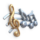 Metallic music note 3D. Music composition.. On white background Royalty Free Stock Photography