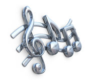 Metallic music note 3D. Music composition.. On white background Stock Photography