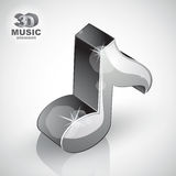 Metallic musical note icon from upper view isolated, 3d Royalty Free Stock Photos