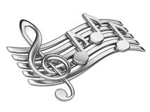 Metallic musical notes. Royalty Free Stock Images