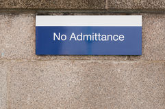 Metallic notice board 'No Admittance' Stock Images