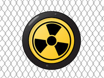 Metallic nuclear sign Stock Photo