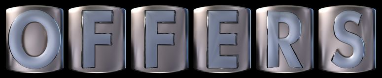 Metallic offers word. Metallic blue silver offers word realistic 3d rendered on black background Stock Photo