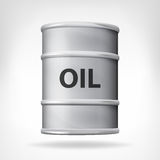 Metallic oil barrel isolated on white. Vector illustration stock illustration