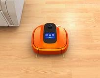 Metallic orange robotic vacuum cleaner moving on flooring. 3D rendering image royalty free illustration
