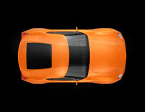 Metallic orange sports car isolated on black background Stock Photography