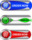 Metallic order now button/icon set. For web applications. Vector stock illustration