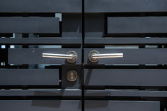 Metallic outside doorknob with locks. Door handle Royalty Free Stock Photo