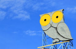 Metallic owl. Figure on rooftop in Barcelona Stock Photo