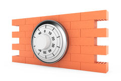 Metallic Pad Lock over the Brick Wall. On a white background vector illustration