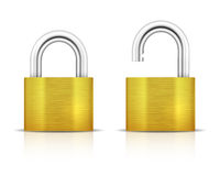 Metallic Padlock. Closed lock security icon Royalty Free Stock Photos