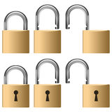 Metallic Padlock Collection Stock Image
