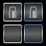 Metallic padlock icons Stock Photography
