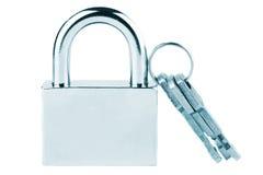 Metallic padlock with keys Stock Images