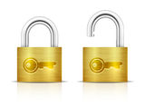 Metallic Padlock. Locked and unlocked Padlocks Stock Photo