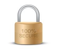 Metallic padlock. 100% Secure. SSL Certificates Sign for website. Metallic padlock. 100% Secure. Vector illustration Stock Photography