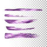 Metallic paint brush stroke set. Vector paint brush stroke collection. Abstract glittering textured brush strokes. Vector illustration of a violet metallic Stock Photography