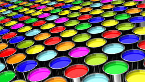 Metallic paint containers. Many cans of paint colors like a factory Royalty Free Stock Image