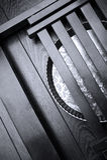 Metallic pan on wooden surface Royalty Free Stock Images