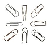 Metallic paper clips variation Stock Image