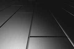 Metallic parquet flooring perspective view in dark Royalty Free Stock Photography