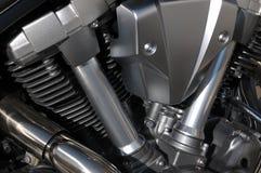 Metallic passion. Motorbike engine closeup. Detail of shining metallic parts Stock Image
