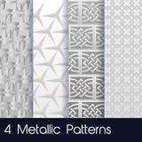 4 Metallic Patterns Stock Photos