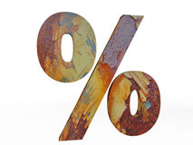 Metallic Percentage Sign in Vintage Style Royalty Free Stock Image