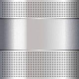 Metallic perforated chromium steel sheet, Stock Image