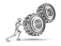 Metallic person man pushes a heavy gears. 3d Stock Photography