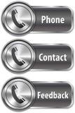 Metallic phone sign on shiny web element Royalty Free Stock Photography