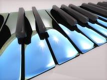 Metallic piano keys. Glossy metallic piano keys closeup Stock Photo