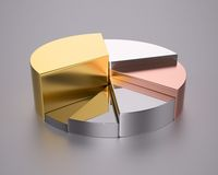 Metallic pie chart. 3D computer illustration with global illumination enabled Royalty Free Stock Photography