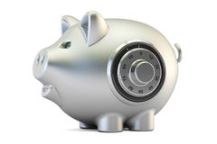 Metallic piggy bank with safe combination dial lock, 3D renderin Stock Photography
