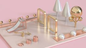 metallic pink,rose gold,gold white pearl 3d abstract playground with trees 3d render stock photos