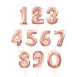 Metallic PinkLetter Balloons 123. Metallic Pink Letter Balloons, 123 golden numeral alphabeth. Dust pink Number Balloons, 1, Alphabet Letter Balloons, 2, Number Royalty Free Stock Photos