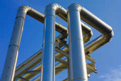 Metallic pipeline Stock Images