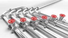 Metallic pipelines Stock Photo
