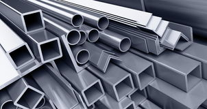Metallic pipes, corners, types Stock Photography