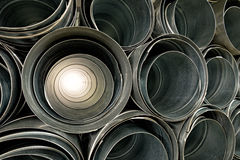 Metallic Pipes stacked in rows pattern Stock Photos