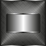 Metallic plaque. Grid texture with metallic plaque Stock Photos