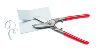 Metallic plate cut with scissors Royalty Free Stock Photography