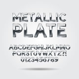 Metallic Plate Font and Numbers. Eps 10 Vector, Editable for any background Royalty Free Stock Images