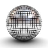 Metallic polygonal chrome sphere or disco ball over white background with shadow Stock Photography