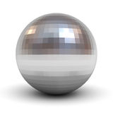 Metallic polygonal chrome sphere over white background with shadow Royalty Free Stock Image
